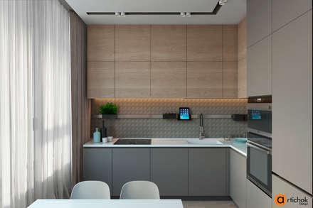 Дизайн кухни в серых тонах: Встроенные кухни в . Автор – Art-i-Chok