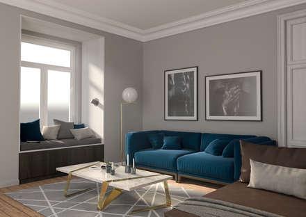 Apartamento Pombalino: Salas de estar ecléticas por INTO Studio
