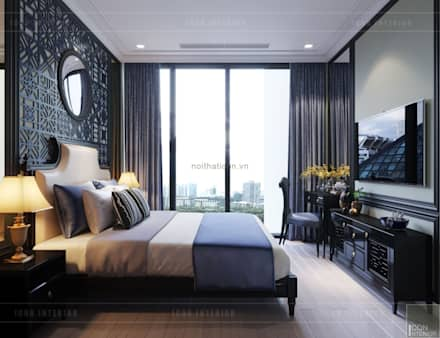 THIẾT KẾ INDOCHINE TRONG CĂN HỘ VINHOMES GOLDEN RIVER:  Phòng ngủ by ICON INTERIOR