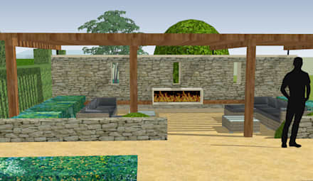 Stable House:  Zen garden by Aralia