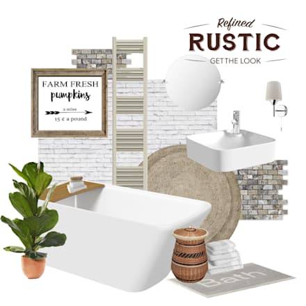 rustic small mood board: rustic Bathroom by Victoria Plum