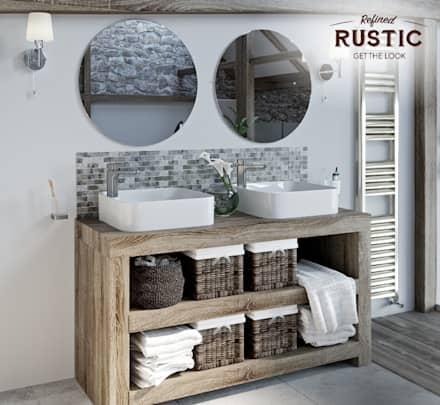 rustic small space twin basins: rustic Bathroom by Victoria Plum