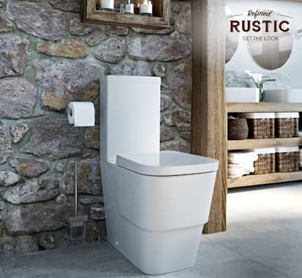 rustic small space toilet: rustic Bathroom by Victoria Plum