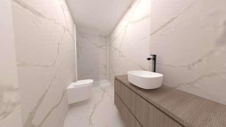 Instalação sanitária da Master Suite: Casas de banho minimalistas por IAM Interiores