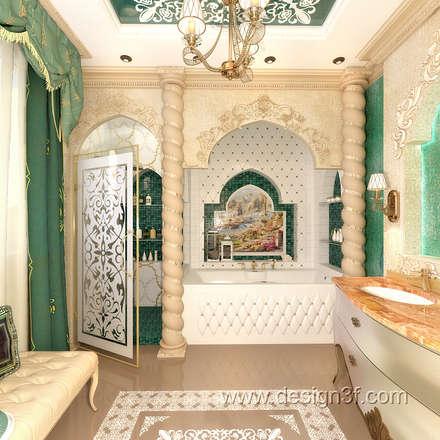 Красивая ванная в восточном стиле: Ванные комнаты в . Автор – студия Design3F