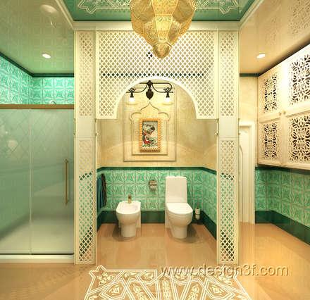 Большая ванная в восточном стиле: Ванные комнаты в . Автор – студия Design3F