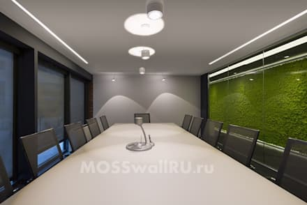 Оформление стены в офисе стабилизированным мхом, панелями MOSSwall: Офисные помещения в . Автор – MOSSwallRU Стабилизированный Мох