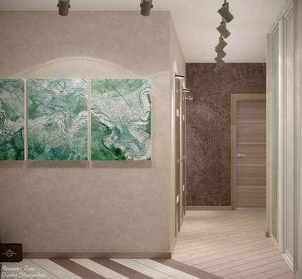 """Дизайн коридора в стиле модернизм в квартире в ЖК """"7 континент"""", г.Краснодар: Коридор и прихожая в . Автор – Студия интерьерного дизайна happy.design"""