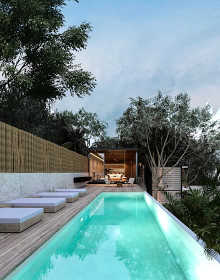 Piscinas infinitas de estilo  por Obed Clemente Arquitecto