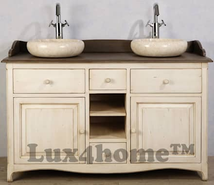 Round vessel marble sink - Vessel stone wash basins marble cream: rustic Bathroom by Lux4home™ Indonesia