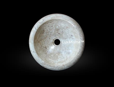 Round vessel marble sink - Vessel stone wash basins marble cream: country Bathroom by Lux4home™ Indonesia