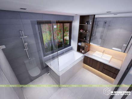 NHÀ Ở GIA ĐÌNH:  Phòng tắm by UK DESIGN STUDIO - KIẾN TRÚC UK