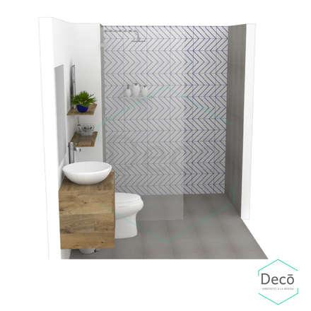 Render principal del proyecto/Baño residencia Itagüí/ vista lateral: Baños de estilo escandinavo por Decó ambientes a la medida