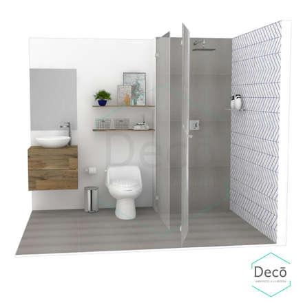 Render principal del proyecto/Baño residencia Itagüí: Baños de estilo escandinavo por Decó ambientes a la medida