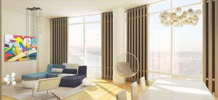 Rendering Comedor- Sala: Salas de estilo ecléctico por Studio ARI