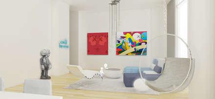 Rendering Sala Principal: Salas de estilo ecléctico por Studio ARI