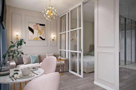 Апартаменты  40 кв.м., в стиле эклектика ЖК I*m.: Гостиная в . Автор – Студия архитектуры и дизайна Дарьи Ельниковой
