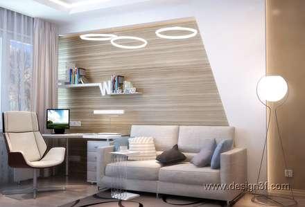 Интерьер спальни и кабинета для молодого человека: Рабочие кабинеты в . Автор – студия Design3F