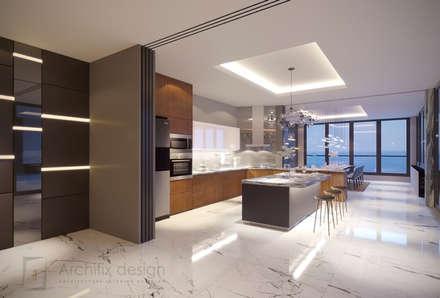 Long Beach center Penthouse - Phu Quoc:  Tủ bếp by Archifix Design