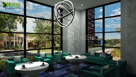Interior Lobby Design Ideas:  Corridor & hallway by Yantram Architectural Design Studio