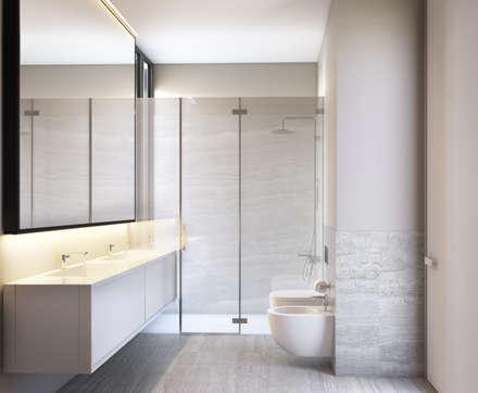 Bloom Marinha, Cascais: Casas de banho modernas por DZINE & CO, Arquitectura e Design de Interiores