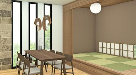 HOUSE UCHIYAMA: Sala da pranzo in stile in stile Asiatico di Studio Maiden