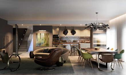 Pent House Quinta dos Alcoutins, Lumiar: Salas de estar industriais por Inêz Fino Interiors, LDA