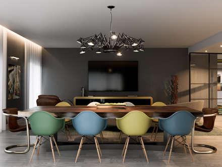 Pent House Quinta dos Alcoutins, Lumiar: Salas de jantar industriais por Inêz Fino Interiors, LDA