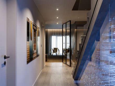 Pent House Quinta dos Alcoutins, Lumiar: Escadas  por Inêz Fino Interiors, LDA