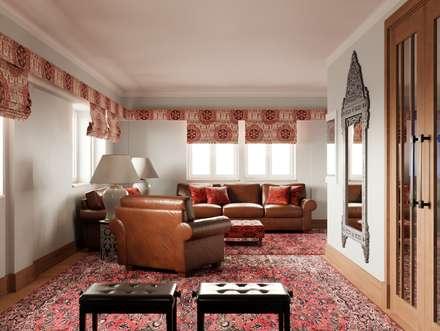 Pent House Apartment with middle eastern and oriental twist, Estoril: Salas de estar ecléticas por Inêz Fino Interiors, LDA