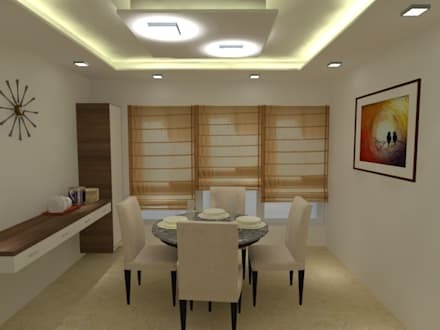 Interior of a 3Bhk apartment: minimalistic Dining room by I Jerifa