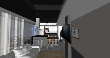 Vista da cozinha kitnet: Cozinhas embutidas  por Form Arquitetura e Design