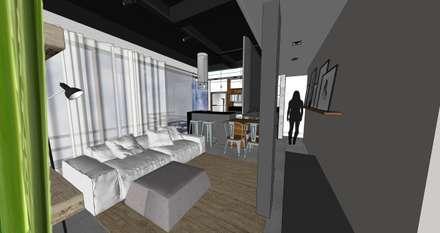 Vista open space: Salas de estar ecléticas por Form Arquitetura e Design