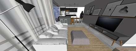 Projeto de andar moradia compacto: Salas de estar ecléticas por Form Arquitetura e Design