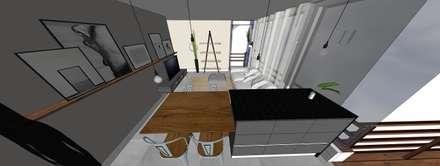 Projeto de andar moradia compacto: Cozinhas embutidas  por Form Arquitetura e Design
