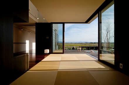 eclectic Media room by Takeru Shoji Architects.Co.,Ltd