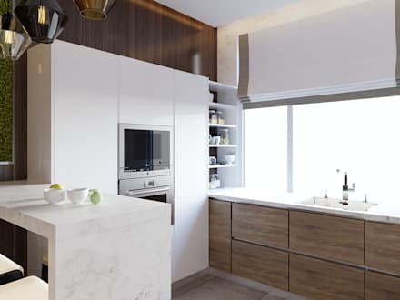 """Дизайн-проект квартиры в ЖК """"Да Винчи"""": Кухни в . Автор – Style Home"""