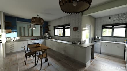 Realistic 3D Design of Kitchen: eclectic Kitchen by Room 2 Room Design