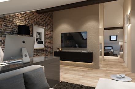 industrial Media room by Style Home