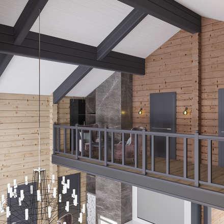 Дизайн-проект загородного дома из бруса: Лестницы в . Автор – Style Home