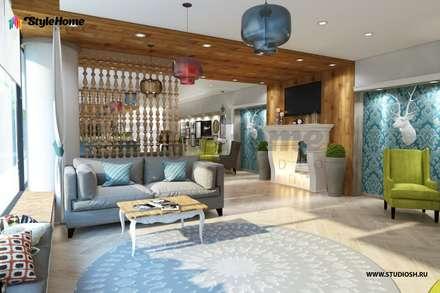 """Дизайн-проект кафе эко-отеля """"Высотка"""": Ресторации в . Автор – Style Home"""