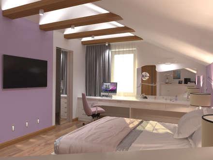Две комнаты на мансарде: Спальни в . Автор – АЛЕКСАНДР ЕЛАШИН. СТУДИЯ ДИЗАЙНА ЭЛИТНЫХ ИНТЕРЬЕРОВ.