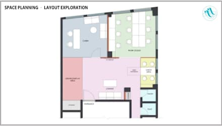 Office Floor plan - Dotdusk studios:  Offices & stores by About The Aesthetics