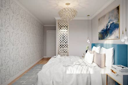 Квартира 66 кв.м. в стиле эклектика в ЖК Успенский: Спальни в . Автор – Студия архитектуры и дизайна Дарьи Ельниковой