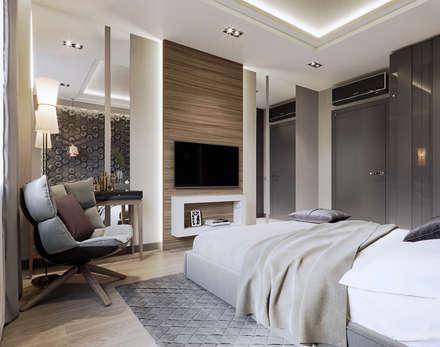 4-х комнатная квартира в ЖК Новое Тушино: Спальни в . Автор – EJ Studio