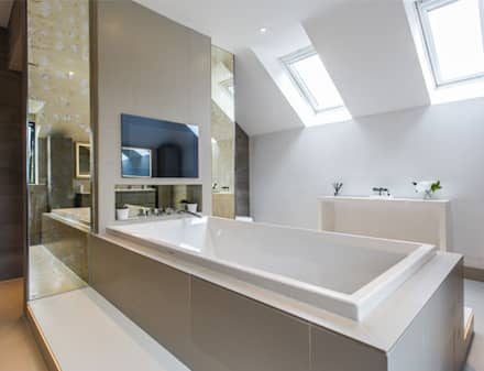 High End Residence: modern Bathroom by Pfeiffer Design Ltd