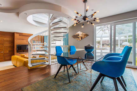 Mid Century Eclectic: eclectic Dining room by Pfeiffer Design Ltd