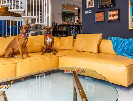 Mid Century Eclectic: eclectic Living room by Pfeiffer Design Ltd