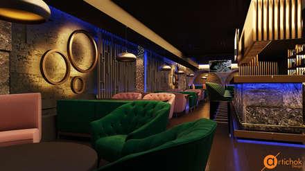 Дизайн интерьера ресторана DOT 53 в Киеве - гранит и латунь: Коммерческие помещения в . Автор – Art-i-Chok