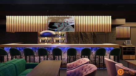 Барная стойка в ресторане DOT 53 - каменный шпон и латунь: Бары и клубы в . Автор – Art-i-Chok